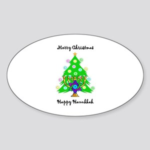 Hanukkah and Christmas Interfaith Sticker (Oval)